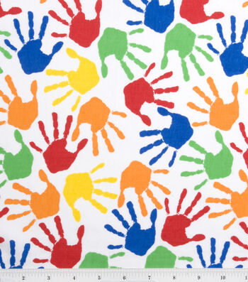 Novelty Cotton Fabric 43''-Hand Prints