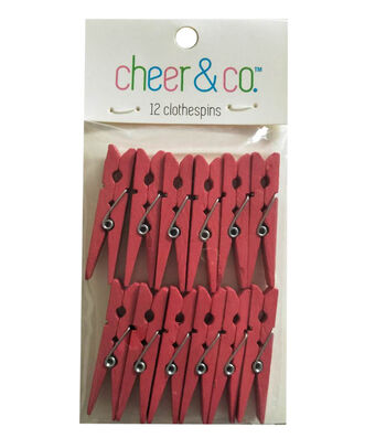 Cheer & Co. 12 pk Small Clothespins-Red