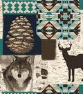 Anti-Pill Fleece Fabric -Teal Wilderness