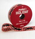 Maker\u0027s Holiday Ribbon 7/8\u0027\u0027x9\u0027-Black Stag Heads on Red & Ivory Plaid