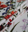 Silky Stretch Crepe Fabric 57\u0022-White Whimsy Stems