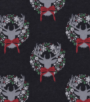 """Snuggle Flannel Fabric 42""""-Stag Head With Wreath"""