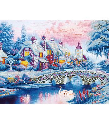 """Diamond Embroidery Facet Art Kit 21.7""""X29""""-Winter Village"""