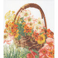 Thea Gouverneur Flower Basket On Aida Counted Cross Stitch Kit