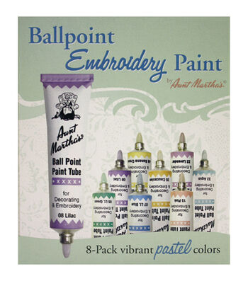 Aunt Martha's Ballpoint Paint Tubes 1 Ounce 8/Pkg- Pastel Colors