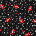 Novelty Cotton Fabric-Fire Hydrants Tossed Black