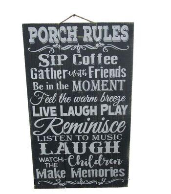 Americana Patriotic Wood Sign-Porch Rules