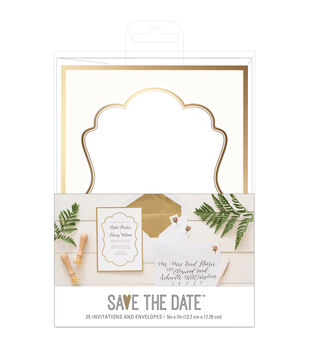 Save the Date 5''x7'' Gold Foiled Wedding Invitations & Envelopes