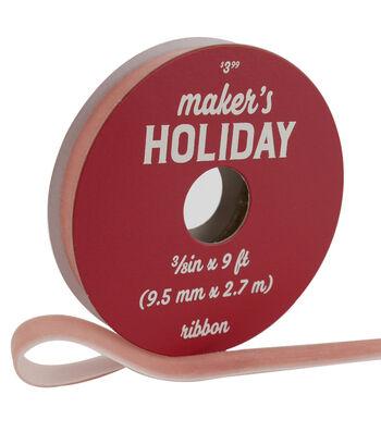 Maker's Holiday Traditional Holiday Velvet Ribbon 3/8''x9'-Rose
