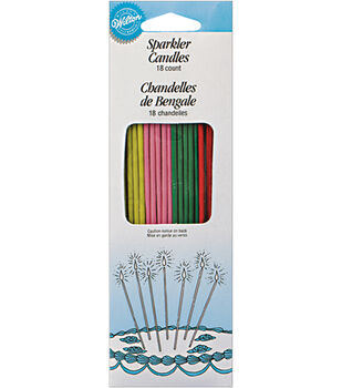 Wilton Sparkler Candles 18/Pk-Yellow/Pink/Green/Red