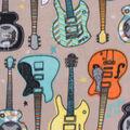 Anti-Pill Plush Fleece Fabric-Guitars on Taupe