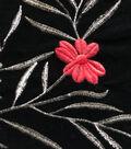 Velvet Fabric 44\u0022-Flower Embroidered On Black