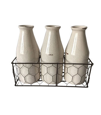 Bloom Room Set Of 3 Ceramic Bottles