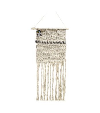 Touch of Nature 42'' Macrame with Gray Wool Wall Hanging