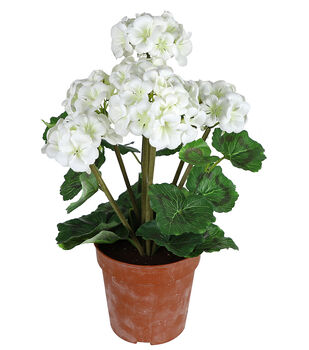 Fresh Picked Spring 18'' Potted Geraniums-White