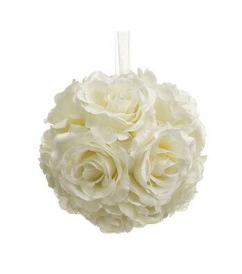 Bloom Room 6'' Rose Kissing Ball-Cream