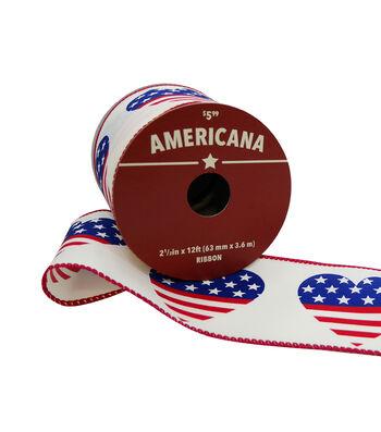 "Americana Ribbon 2.5""x12'-Heart Flag"