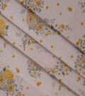 Spring Garden Crinkle Cotton Fabric-White Yellow Floral Spray