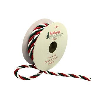 Handmade Holiday Christmas Twist Cord Ribbon 1/5''x9'-Red, White & Green