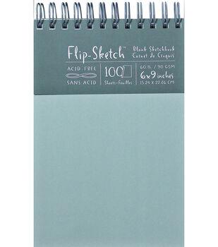 "Flip-Sketch Blank Spiral Sketch Book 6""X9""-100 Sheets-Mist"