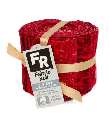 Jelly Roll Cotton Fabric Pack 2.5''x42''-Red & Metallic