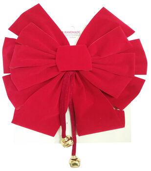 Handmade Holiday Christmas 14''x28'' Velvet Bow-Red