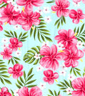 Gertie Poplin Fabric -Tropical on  Turquoise