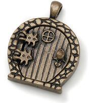 Darice Fairy Door Metal Charm 1/Pk-Antique Bronze/Round Window, , hi-res