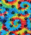 Anti-Pill Fleece Fabric -Paw Prints On Tie Dye
