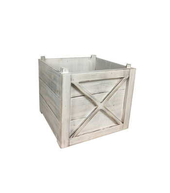 Blooming Holiday Farm Large White Washed Crate