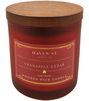 Haven St. Candle Co. 5 oz. Cranapple Cedar Scented Wooden Wick Candle