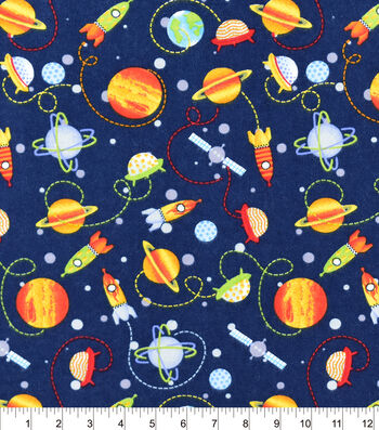Snuggle Flannel Fabric -Space Ships And Planets
