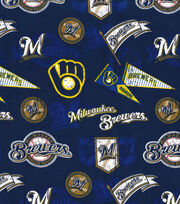 Milwaukee Brewers Cotton Fabric -Vintage, , hi-res