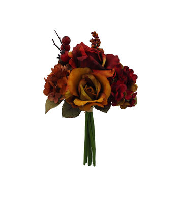Blooming Autumn Rose, Hydrangea & Berry Bouquet-Red & Gold