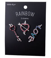 hildie & jo Rainbow Charms-Heart Love Key Multi Stone Silver, , hi-res