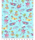 Novelty Cotton Fabric 44\u0022-Flamingos On The Beach