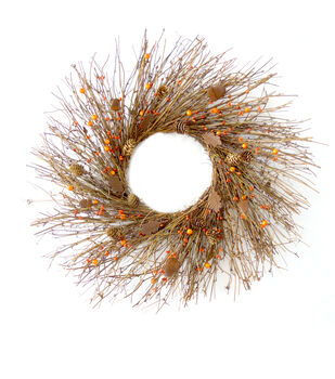 Blooming Autumn Rustic Leaf, Berry & Twig Wreath