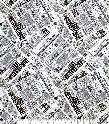 Fantastic Beasts Cotton Fabric-Newspaper
