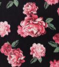 Anti-Pill Plush Fabric 58\u0022-Pink Roses on Black
