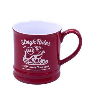 Handmade Holiday Christmas 16 oz. Stoneware Mug-Sleigh Rides