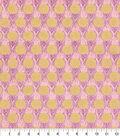 Asian Inspired Cotton Fabric 44\u0022-Pink Circle Floral Metallic