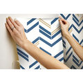 York Wallcoverings Wallpaper-Blue Chevron Stripe