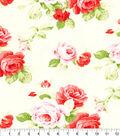 Premium Cotton Fabric-Cream Large Floral