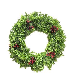 Handmade Holiday Christmas 24'' Boxwood & Red Berry Wreath