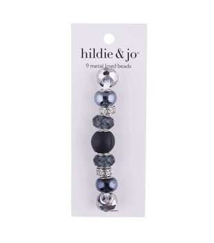 hildie & jo 9 pk Metal Lined Glass Beads-Black & Silver