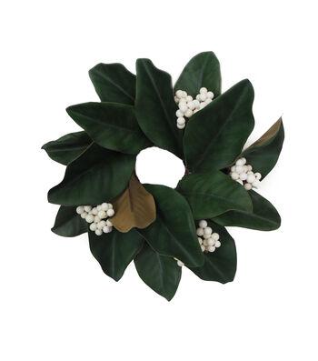 Blooming Holiday Christmas Farm Magnolia Leaf & White Berry Mini Wreath
