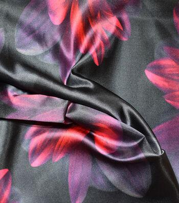 """Gianna 100% Silk Satin Print Fabric 54""""-Large Floral Caviar Black"""