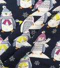 Doodles Christmas Cotton Fabric 57\u0022-Navy Penguins In Sweaters