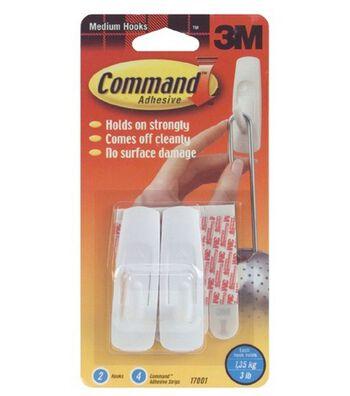 Medium Hooks 2/Pkg W/4 Command Adhesive Strips