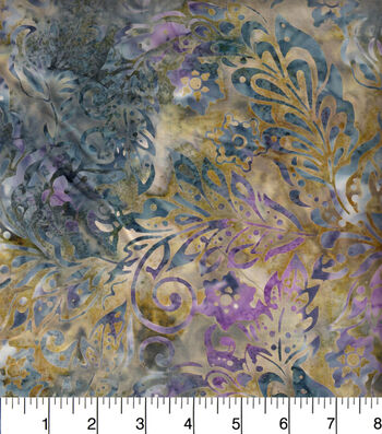 "Legacy Studio Indonesian Batiks Cotton Fabric 44""-Packed Floral Blue"